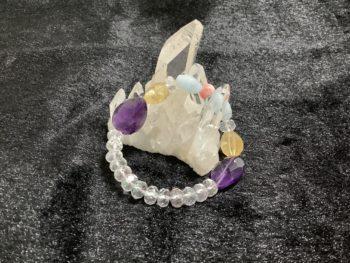 紫水晶&アクアマリン&インカローズ&黄水晶&水晶カットブレスレット